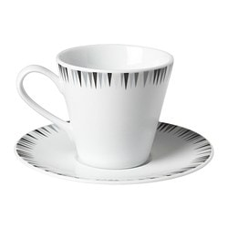 MATSEDEL coffee cup and saucer, grey, black Saucer diameter: 15 cm Total height: 8 cm Cup height: 7.5 cm