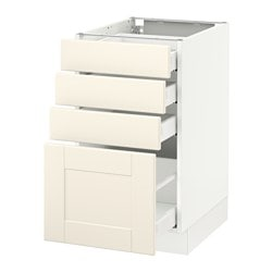 SEKTION base cabinet with 4 drawers, white Maximera, Grimslöv off-white