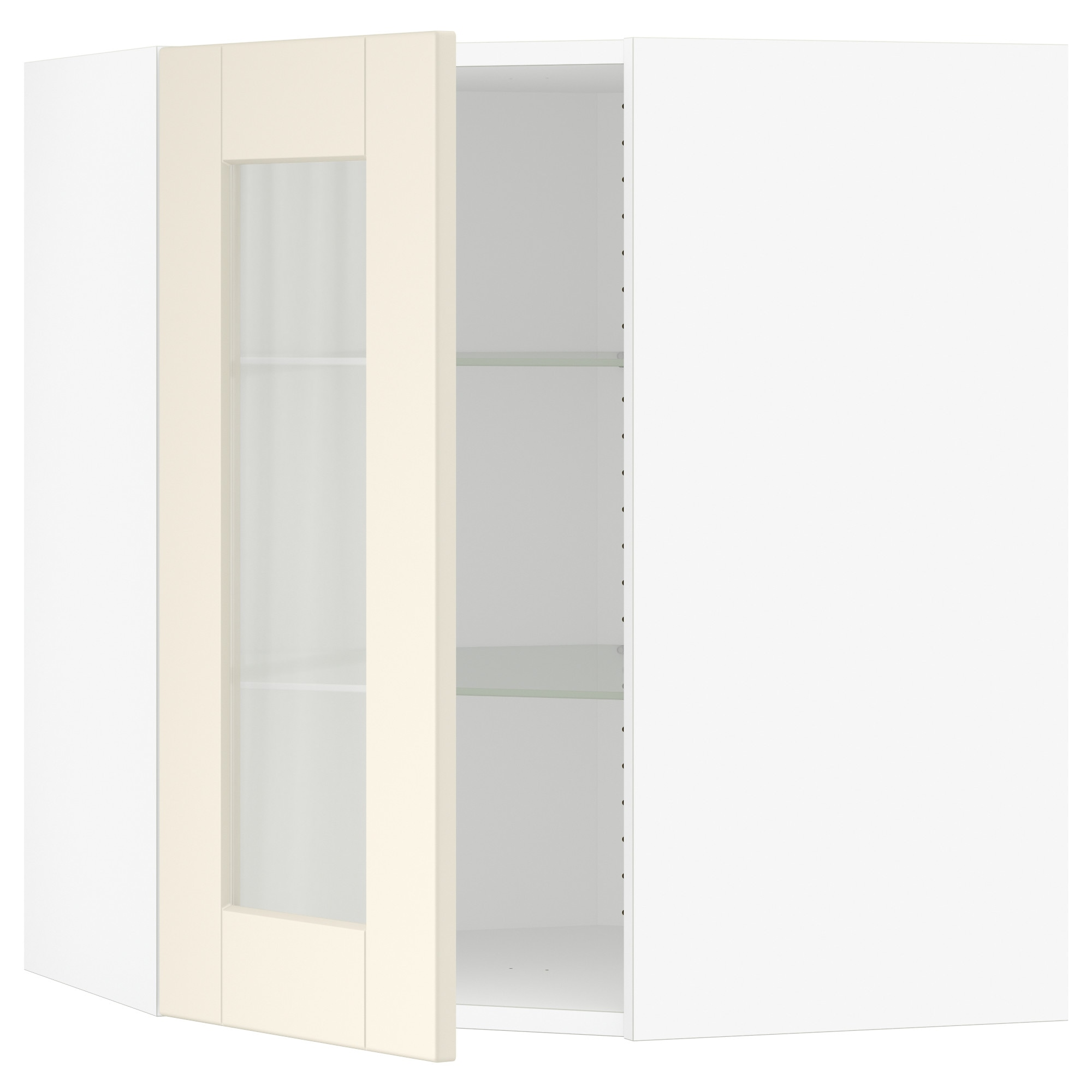 Sektion Corner Wall Cabinet With Glass Door Grimslov Off White