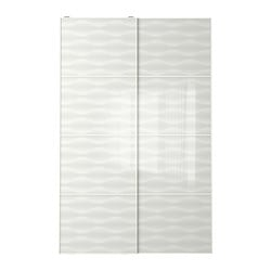 INNFJORDEN pair of sliding doors, white glass Width: 150 cm Built-in depth: 8.0 cm Height: 236 cm