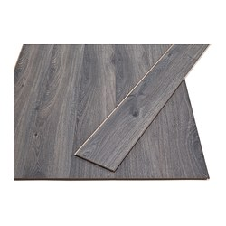 GOLV laminated flooring, dark grey, oak effect Length: 138 cm Width: 15.7 cm Plank thickness: 8 mm