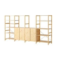 "IVAR 4 sections with shelves, pine Width: 135 3/8 "" Depth: 19 5/8 "" Height: 70 1/2 "" Width: 344 cm Depth: 50 cm Height: 179 cm"
