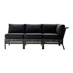 KUNGSHOLMEN /  KUNGSÖ 3-seat sofa, outdoor, black-brown, black Depth: 80 cm Height: 73 cm Width right: 80 cm