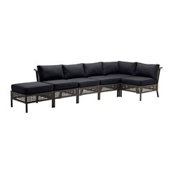 "KUNGSHOLMEN /  KUNGSÖ 5-seat sectional + stool, outdoor, black-brown, black Depth: 31 1/2 "" Height: 28 3/4 "" Width right: 55 7/8 "" Depth: 80 cm Height: 73 cm Width right: 142 cm"