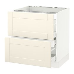 SEKTION base cabinet f/cooktop w/3 drawers, white Maximera, Grimslöv off-white