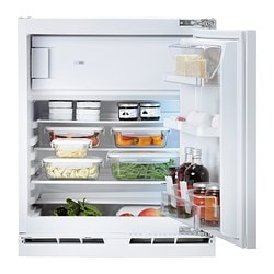 HUTTRA integrated fridge w freezer compart, white Width: 59.6 cm Depth: 54.5 cm Height: 81.5 cm