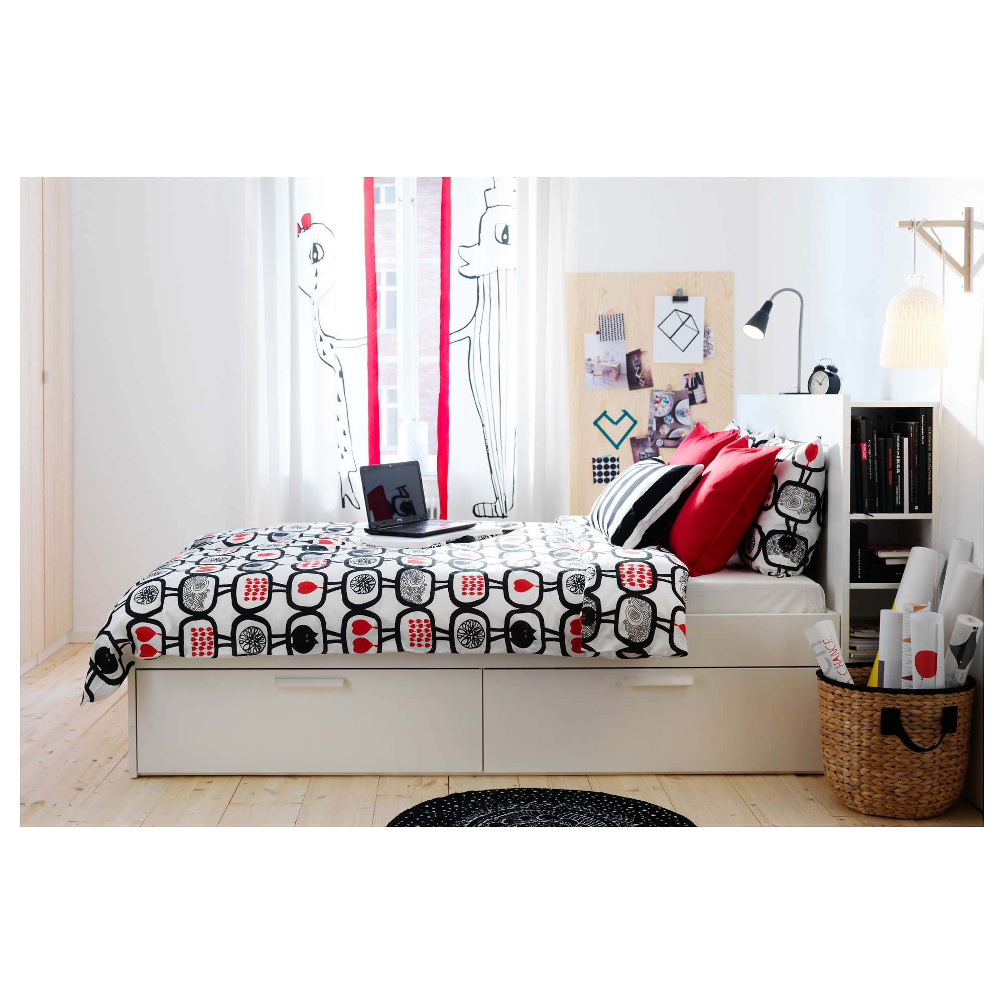 BRIMNES Bed frame with storage & headboard IKEA