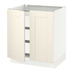 SEKTION base cabinet w/2 doors & 3 drawers, white Maximera, Grimslöv off-white