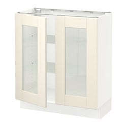SEKTION base cabinet with 2 glass doors, white, Grimslöv off-white
