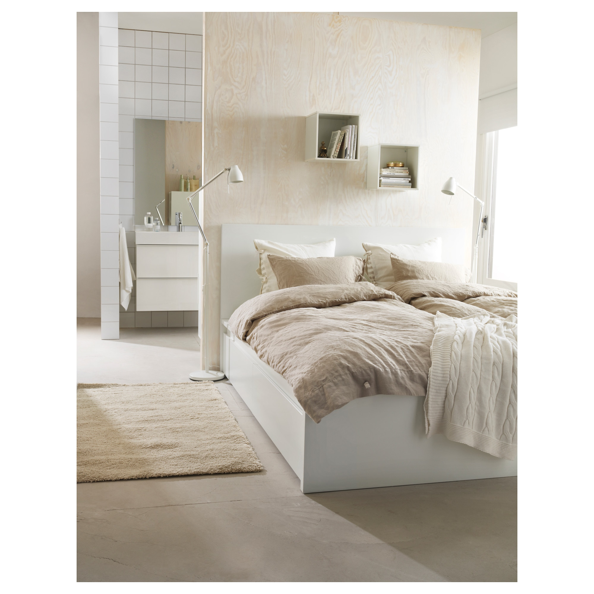 MALM High bed frame 4 storage boxes white Queen IKEA