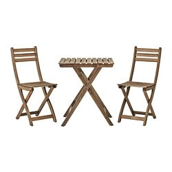 ASKHOLMEN table+2 chairs, outdoor, brown brown stained, grey