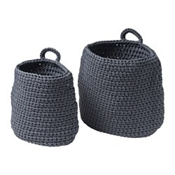 NORDRANA basket, set of 2, gray