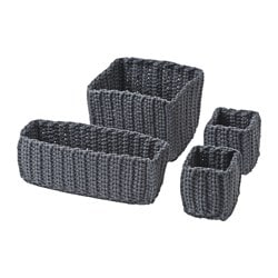 NORDRANA basket, set of 4, gray