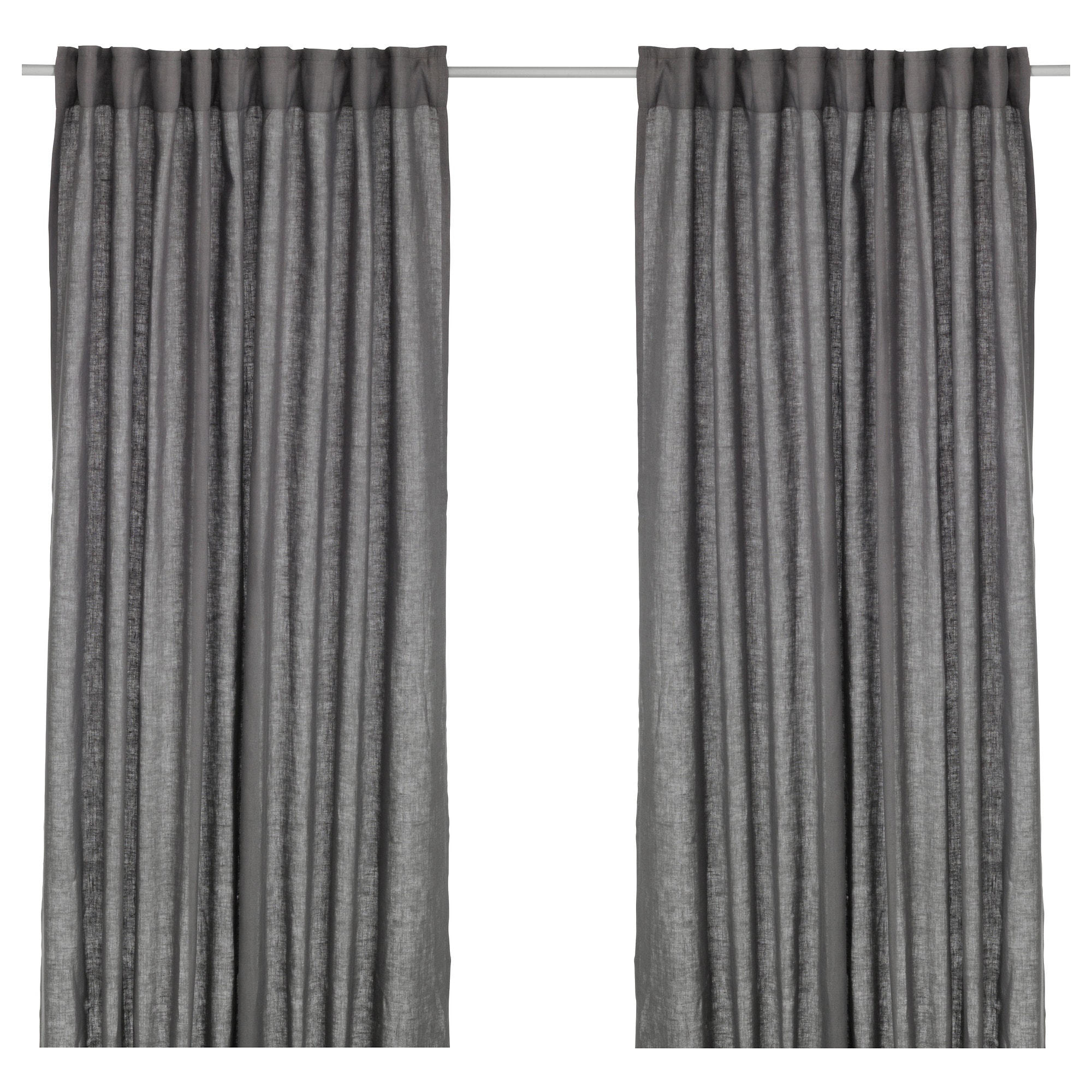 Grey curtains living room - Aina Curtains 1 Pair Dark Gray Length 98 Width 57
