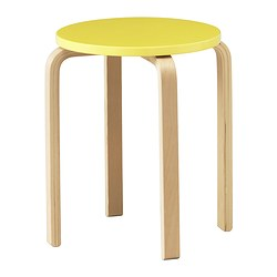 FROSTA stool, yellow Tested for: 100 kg Seat diameter: 35 cm Width: 42 cm