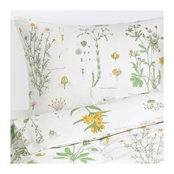 STRANDKRYPA quilt cover and pillowcase, white, floral patterned Quilt cover length: 200 cm Quilt cover width: 150 cm Pillowcase length: 50 cm