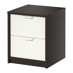 ASKVOLL chest of 2 drawers, black-brown black, white Width: 41 cm Width of drawer: 32 cm Depth: 41 cm
