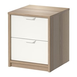 "ASKVOLL 2-drawer chest, white stained oak effect, white Width: 16 1/8 "" Depth: 16 1/8 "" Height: 18 7/8 "" Width: 41 cm Depth: 41 cm Height: 48 cm"
