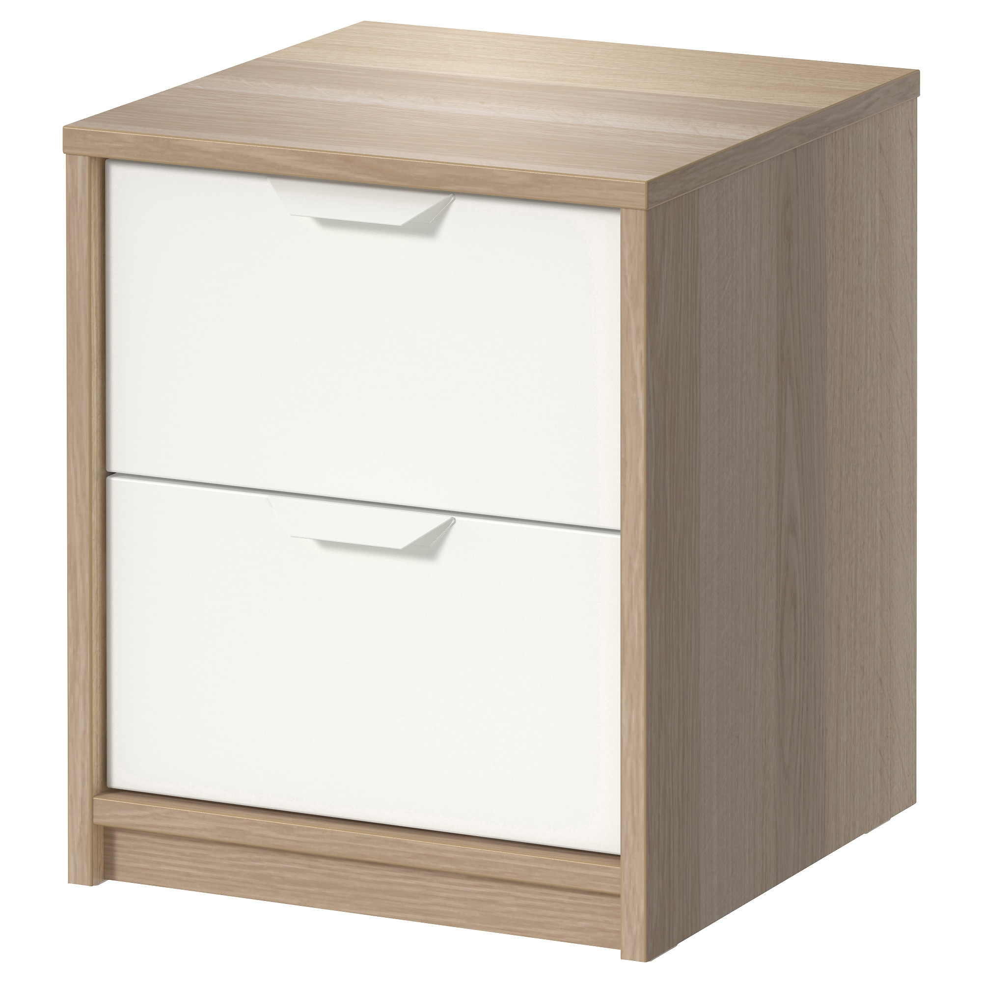 Askvoll 2 Drawer Chest White Stained Oak Effect Width 16 1