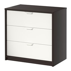 ASKVOLL chest of 3 drawers, black-brown black, white Width: 70 cm Width of drawer: 62 cm Depth: 41 cm