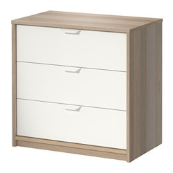 "ASKVOLL 3-drawer chest, white stained oak effect, white Width: 27 1/2 "" Depth: 16 1/8 "" Height: 27 1/8 "" Width: 70 cm Depth: 41 cm Height: 69 cm"