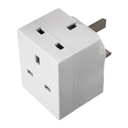 KOPPLA 3-way adaptor plug, earthed white