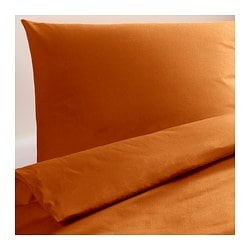 "DVALA duvet cover and pillowcase(s), orange Thread count: 144 square inches Pillowcase quantity: 2 pack Duvet cover length: 86 "" Thread count: 144 square inches Pillowcase quantity: 2 pack Duvet cover length: 218 cm"