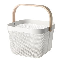 "RISATORP basket, white Length: 9 ¾ "" Width: 10 ¼ "" Height: 7 "" Length: 25 cm Width: 26 cm Height: 18 cm"