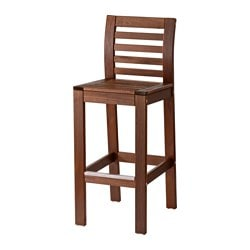 ÄPPLARÖ bar stool with backrest, outdoor, brown stained Width: 40 cm Depth: 49 cm Seat width: 40 cm