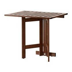 ÄPPLARÖ gateleg table for wall, outdoor, brown stained Length: 80 cm Width: 56 cm Height: 72 cm