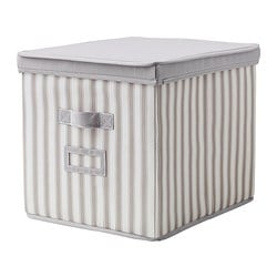 SVIRA box with lid, white stripe, grey Width: 33 cm Depth: 39 cm Height: 33 cm