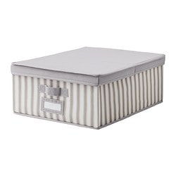 SVIRA box with lid, white stripe, grey Width: 39 cm Depth: 48 cm Height: 19 cm