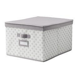 SVIRA box with lid, grey, white flowers