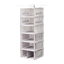SVIRA hanging storage with 7 compartments, grey, white stripe