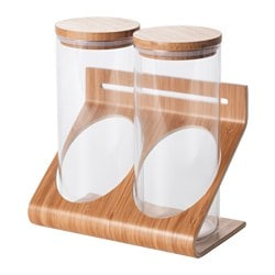 RIMFORSA holder with containers, glass, bamboo