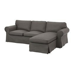EKTORP two-seat sofa and chaise longue, Nordvalla grey Width: 252 cm Min. depth: 88 cm Max. depth: 163 cm