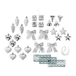 VINTER 2015 29-piece hanging decoration set, silver-colour