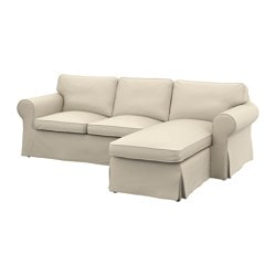 EKTORP two-seat sofa and chaise longue, Ramna beige Width: 252 cm Min. depth: 88 cm Max. depth: 163 cm