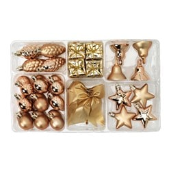 VINTER 2015 29-piece hanging decoration set, gold-colour