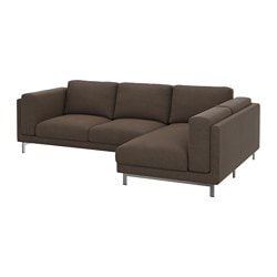 "NOCKEBY loveseat with chaise, right, chrome plated, Tenö brown Width: 109 "" Min. depth: 38 1/4 "" Max. depth: 68 7/8 "" Width: 277 cm Min. depth: 97 cm Max. depth: 175 cm"