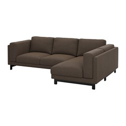 "NOCKEBY loveseat with chaise, right, wood, Tenö brown Width: 109 "" Min. depth: 38 1/4 "" Max. depth: 68 7/8 "" Width: 277 cm Min. depth: 97 cm Max. depth: 175 cm"