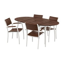 VINDALSÖ table and 4 chairs with armrests, brown stained, white