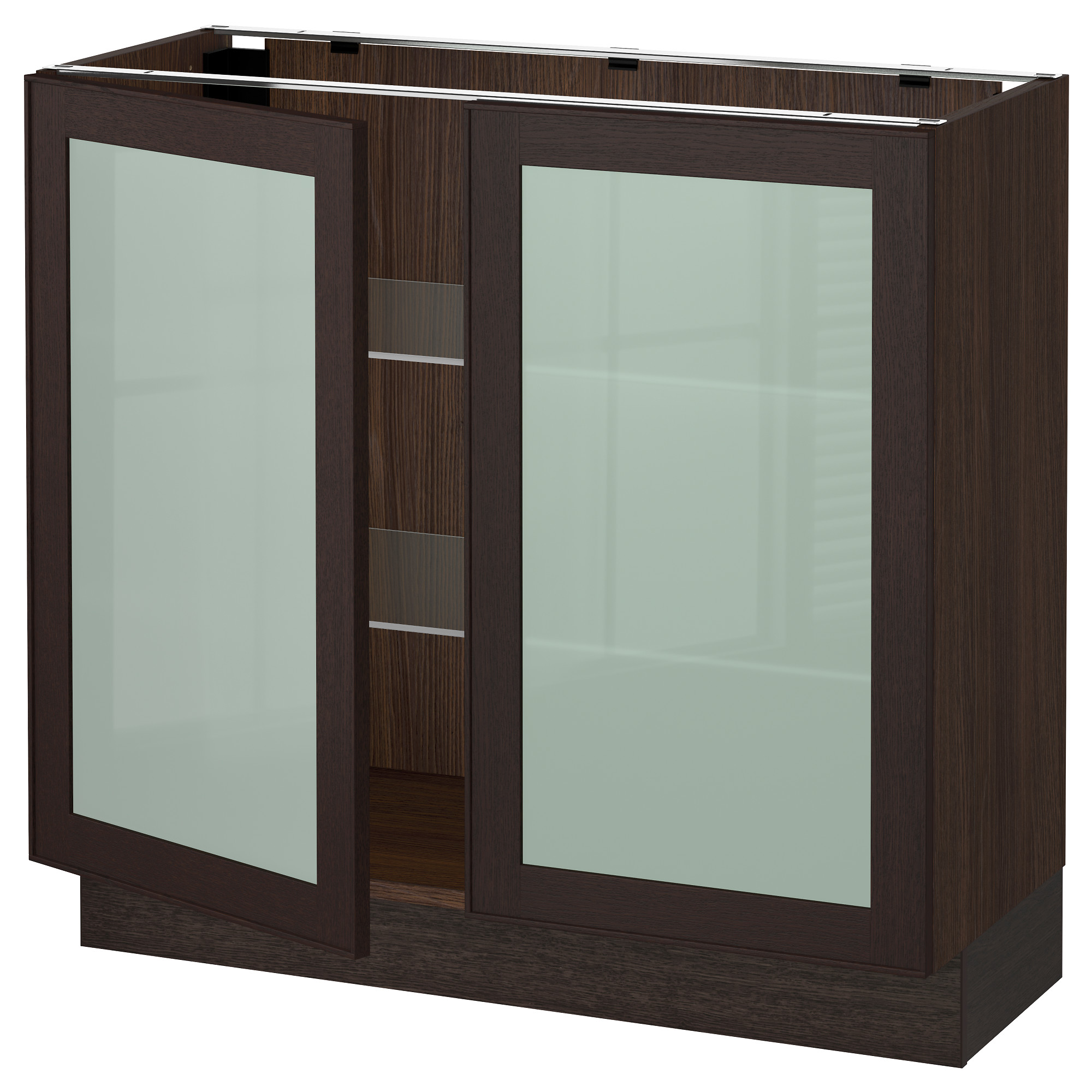 SEKTION Base cabinet with 2 glass doors - wood effect brown, Ekestad ...