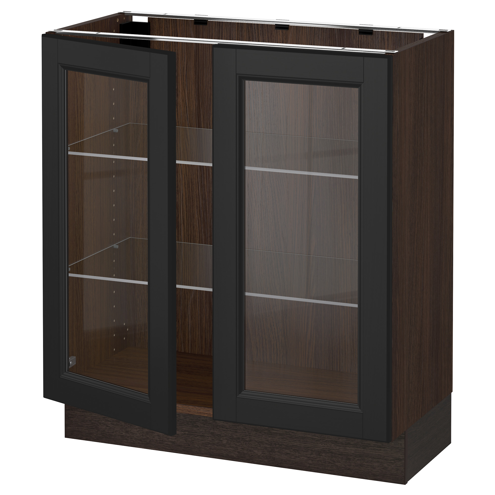 sektion base cabinet with 2 glass doors   wood effect brown ekestad brown 36x15x30      ikea sektion base cabinet with 2 glass doors   wood effect brown      rh   ikea com