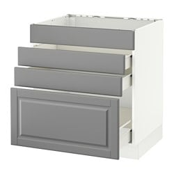 SEKTION base cabinet f/cooktop w/3 drawers, white Förvara, Bodbyn gray