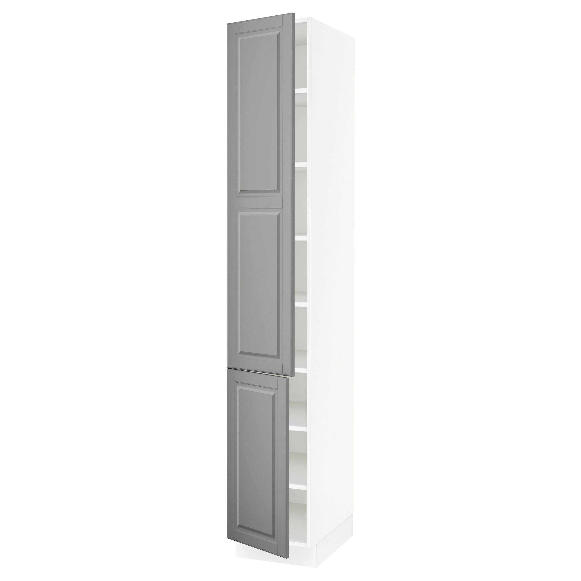 SEKTION high cabinet with shelves  2 doors white Bodbyn gray Width 15 Tall Kitchen Cabinets System IKEA