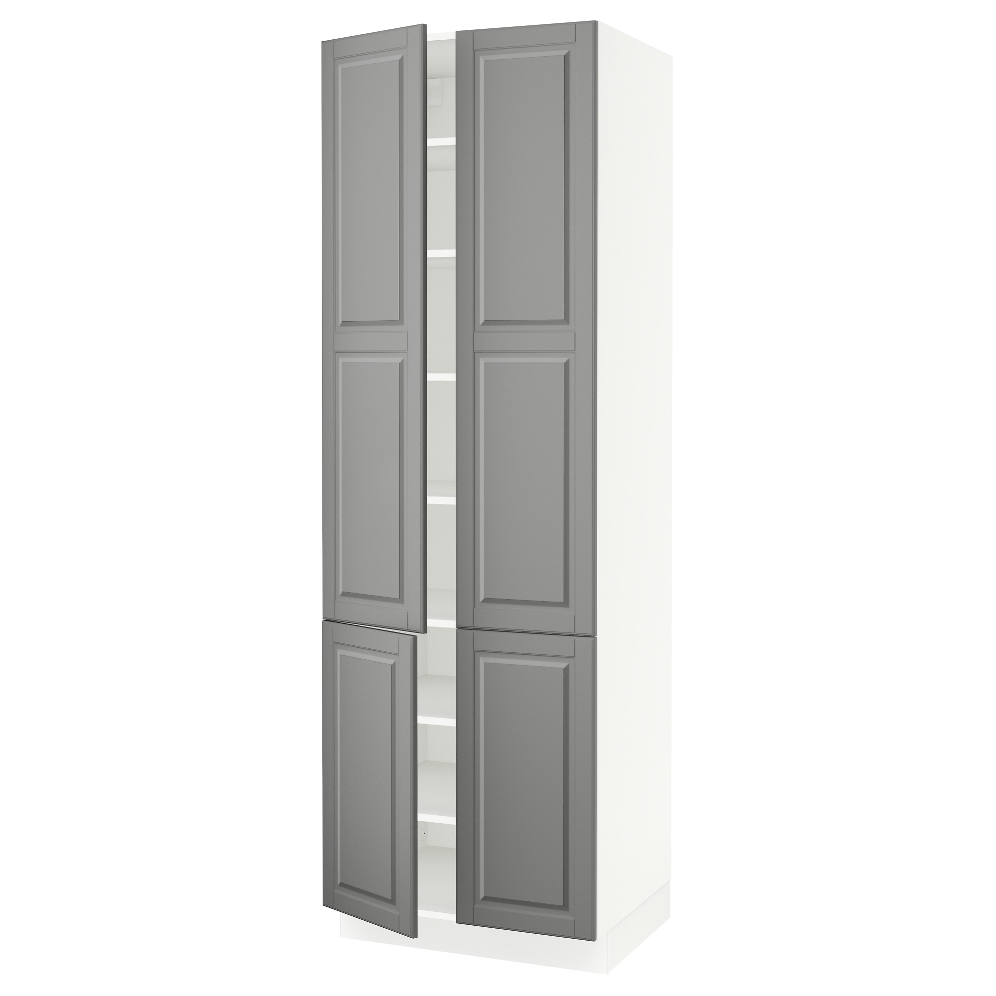 Sektion High Cabinet With Shelves 4 Doors White Bodbyn Gray Width 30