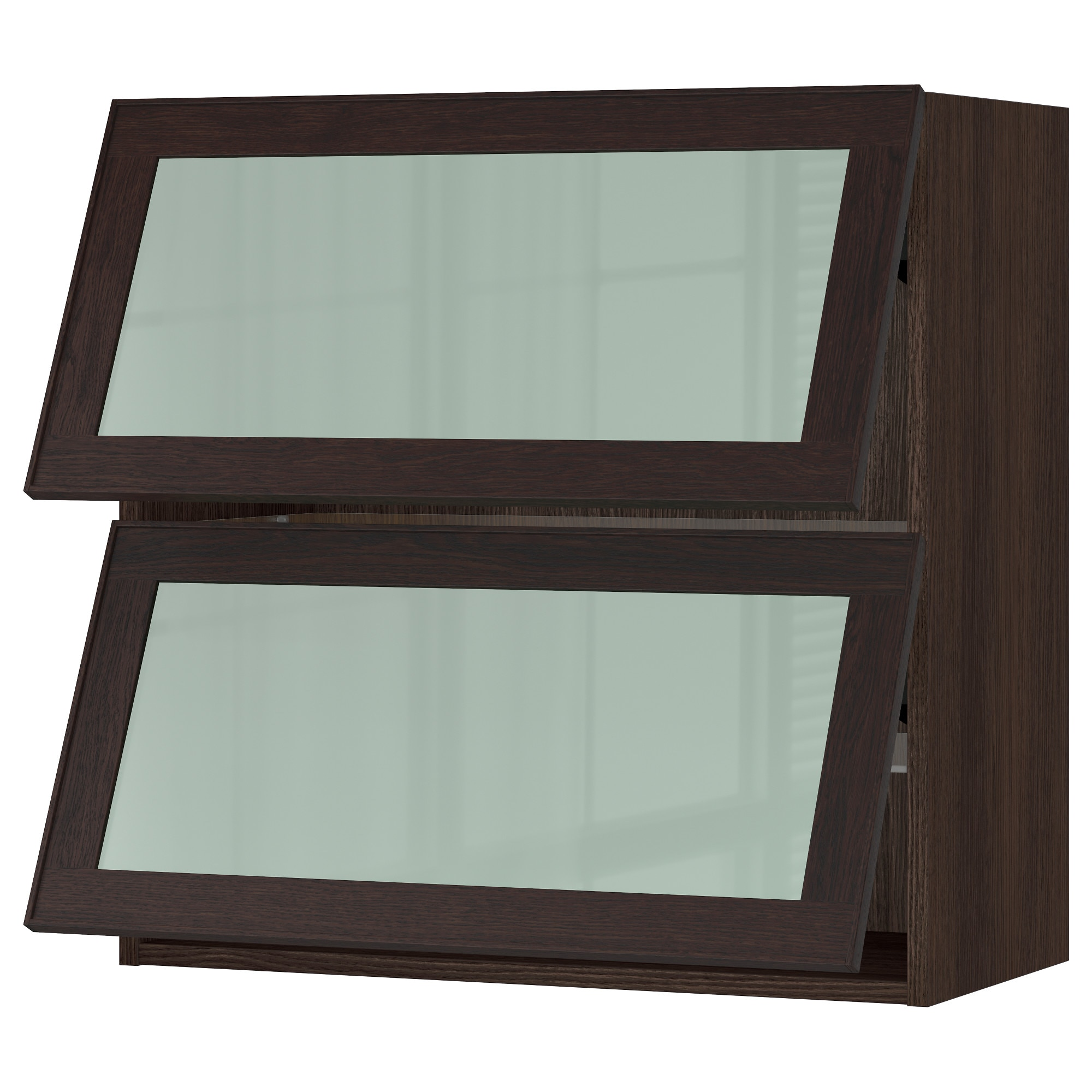 sektion horizontal wall cabinet 2glass door white jutis frosted