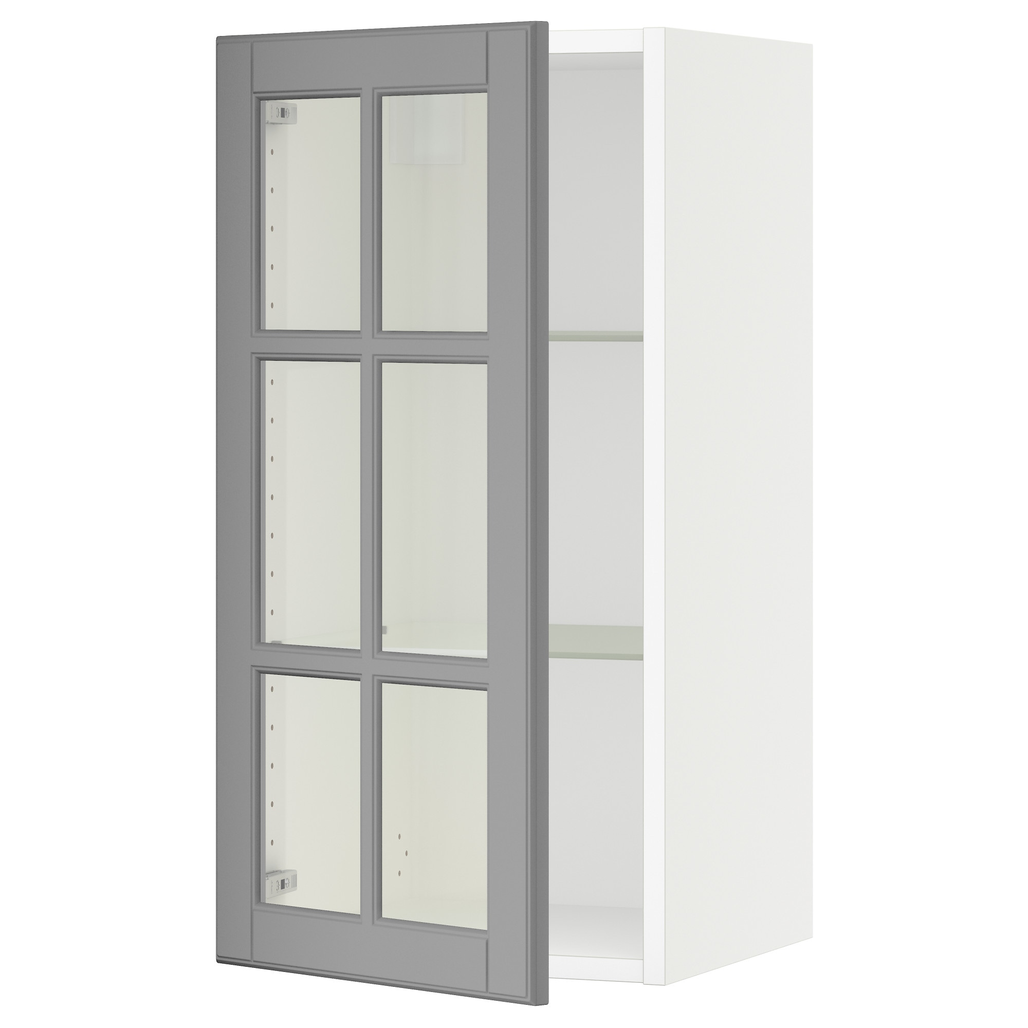 SEKTION Wall cabinet with glass door white Bodbyn gray