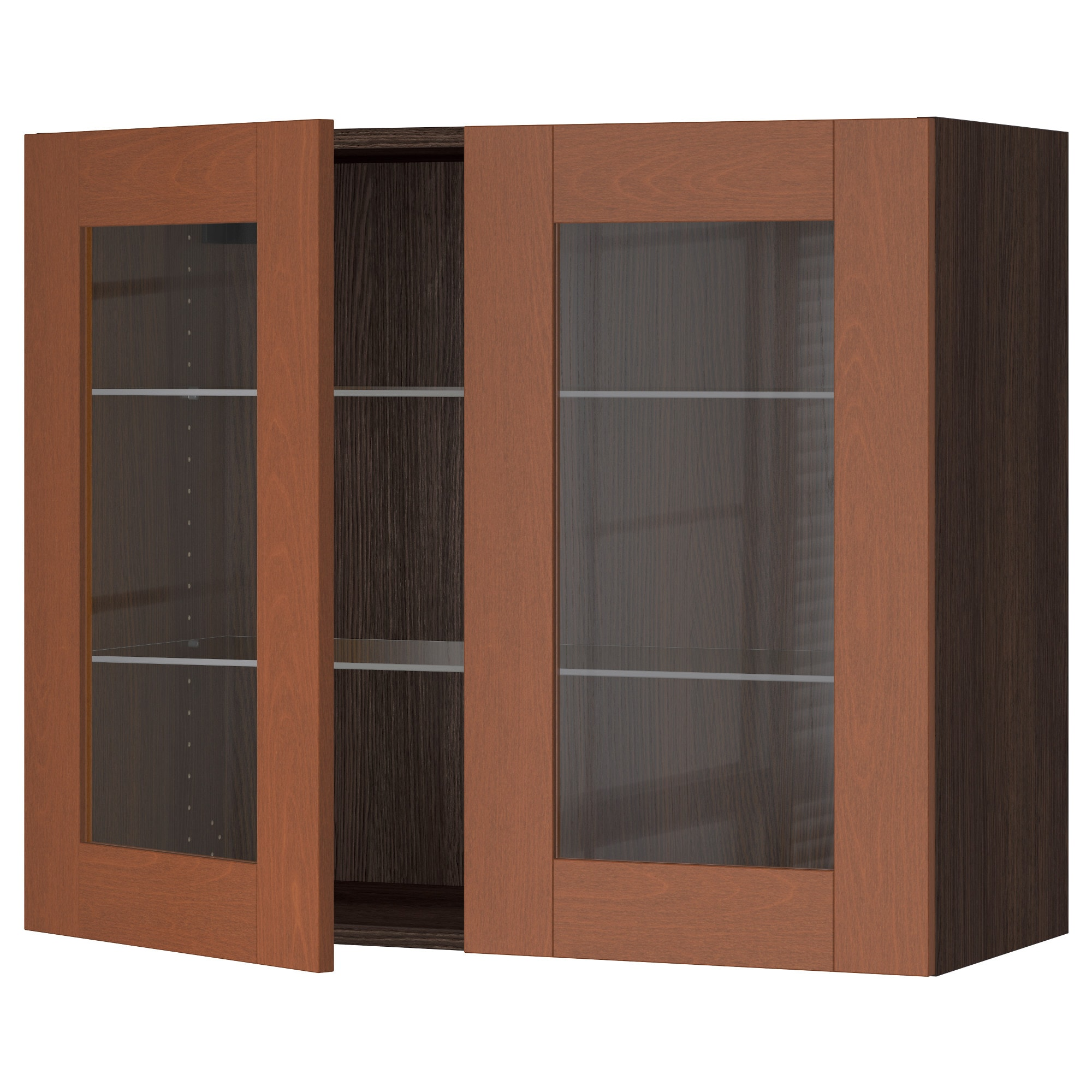 SEKTION Wall cabinet with 2 glass doors white Bodbyn gray